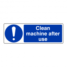 Clean Machine After Use Sign (Landscape)