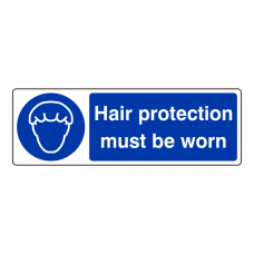 Hair Protection Must Be Worn Sign (Landscape)