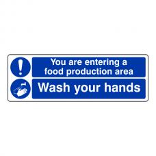 Food Production / Wash Hands Sign (Landscape)