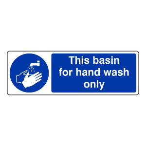 This Basin For Hand Wash Only Sign (Landscape)