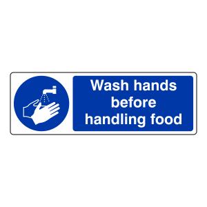 Wash Hands Before Handling Food Sign (Landscape)