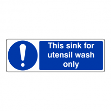 This Sink For Utensil Wash Only Sign (Landscape)