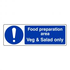 Food Preparation Area Veg And Salad Only Sign (Landscape)