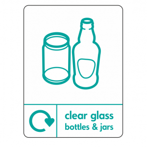 Clear Glass Recycling Sign (WRAP)