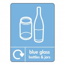 Blue Glass Recycling Sign (WRAP)