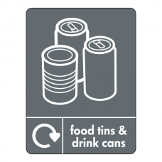 Food Tins & Drink Cans Recycling Sign (WRAP)