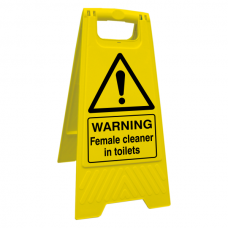 Warning Female Cleaner In Toilets Floor Stand