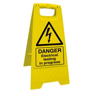 Danger Electrical Testing In Progress Floor Stand