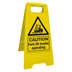 Caution Fork Lift Trucks Operating Floor Stand