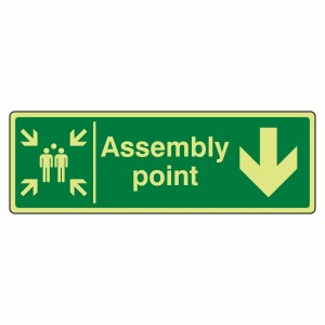 Photoluminescent Assembly Point Arrow Down Sign