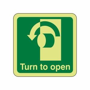 Photoluminescent Turn To Open Sign (Anti-Clockwise)