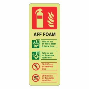 Photoluminescent AFF Foam Fire Extinguisher ID Sign (Portrait)
