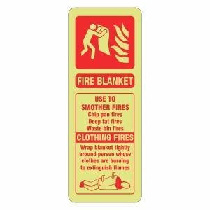 Photoluminescent Fire Blanket Extinguisher ID Sign (Portrait)