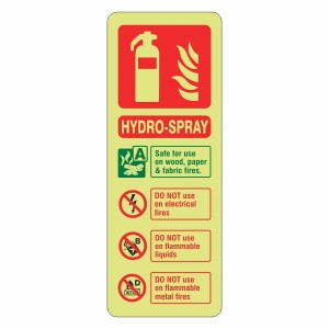 Photoluminescent Hydro-Spray Fire Extinguisher ID Sign (Portrait)
