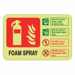 Photoluminescent  Foam Spray Fire Extinguisher ID Sign (Landscape)