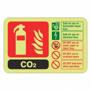 Photoluminescent  CO2 Fire Extinguisher ID Sign (Landscape)