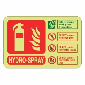 Photoluminescent Hydro-Spray Fire Extinguisher ID Sign (Landscape)