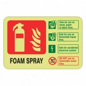 Photoluminescent Electrical Safe Foam Spray Fire Extinguisher ID Sign (Landscape)
