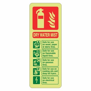 Photoluminescent Dry Water Mist Fire Extinguisher ID Sign (Portrait)