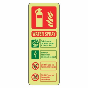 Photoluminescent Water Spray Fire Extinguisher ID Sign (Portrait)