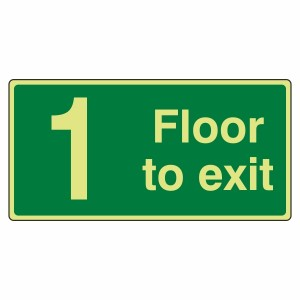 Photoluminescent 1 Floor To Exit Sign