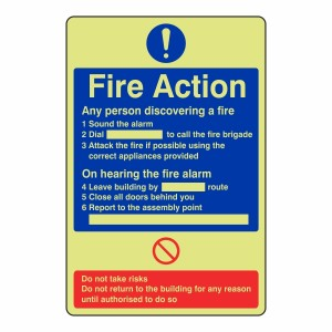 Photoluminescent General Fire Action Sign 1