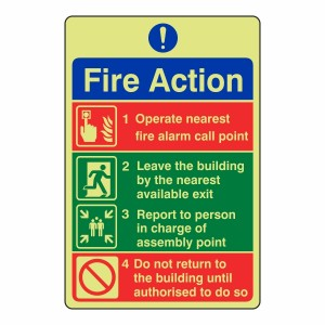 Photoluminescent General Fire Action Sign 3