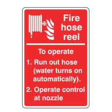 Fire Hose Reel Operating Instructions Sign