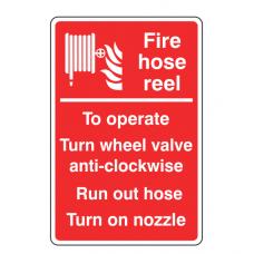 Fire Hose Reel Instructions Sign