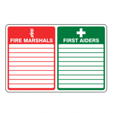 Fire Marshals / First Aiders Sign