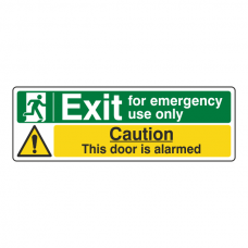 Exit For Emergency Use Only / Door Alarmed Sign