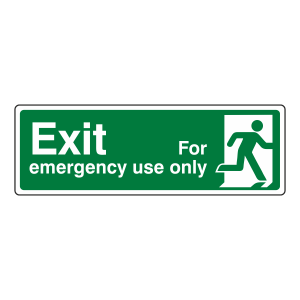 Exit For Emergency Use Only Sign (man right)