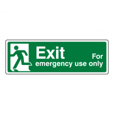 Exit For Emergency Use Only Sign (man left)