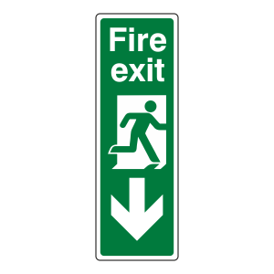 Fire Exit Arrow Down Sign (Portrait)