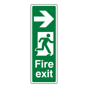 Fire Exit Arrow Right Sign (Portrait)