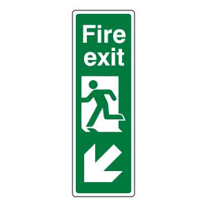 Fire Exit Arrow Down Left Sign (Portrait)