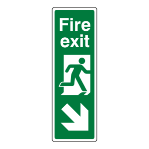 Fire Exit Arrow Down Right Sign (Portrait)