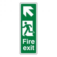 Fire Exit Arrow Up Left Portrait Sign (Portrait)