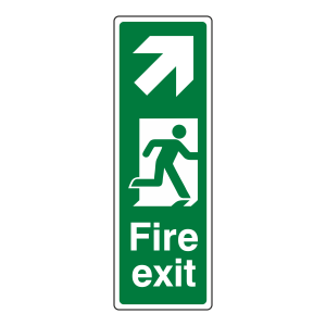 Fire Exit Arrow Up Right Sign (Portrait)