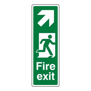 Fire Exit Arrow Up Right Sign (Portrait)