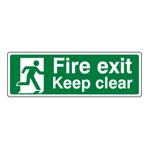 Fire Exit Keep Clear with Running Man Sign