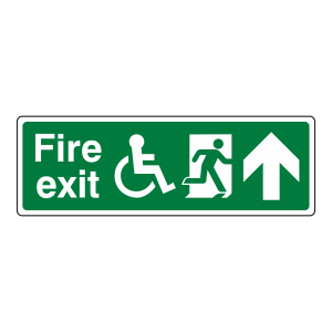 Wheelchair Fire Exit Arrow Up Sign