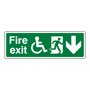Wheelchair Fire Exit Arrow Down Sign