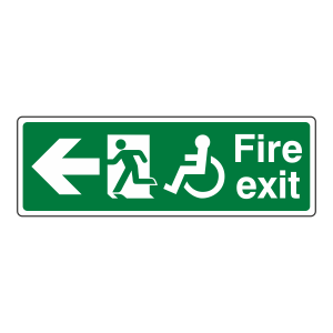Wheelchair Fire Exit Arrow Left Sign