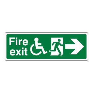 Wheelchair Fire Exit Arrow Right Sign