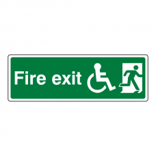 Wheelchair Final Fire Exit Man Right Sign