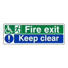 Wheelchair Fire Exit / Keep Clear Sign