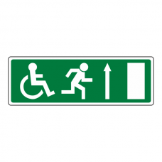 Wheelchair Fire Exit Arrow Up Sign (no text)