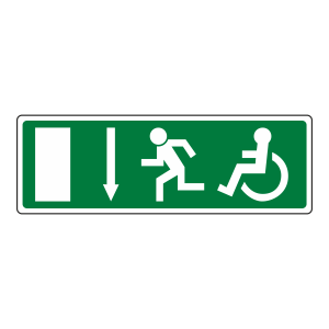 Wheelchair Fire Exit Arrow Down Sign (no text)