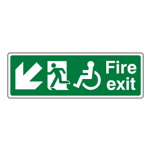 Wheelchair Fire Exit Arrow Down Left Sign